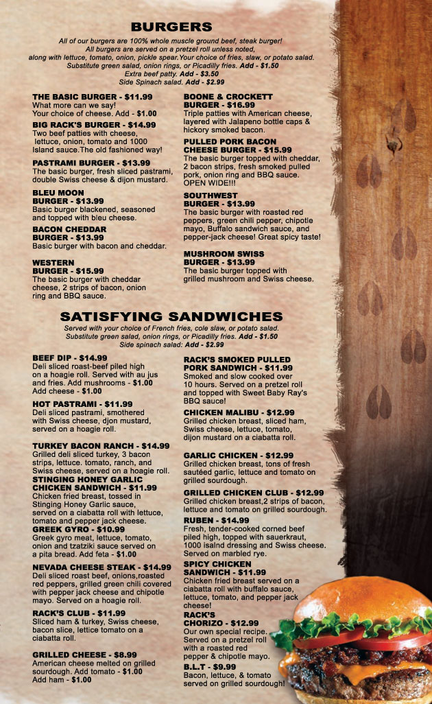 Menu Burgers Racks Bar Ely nevada